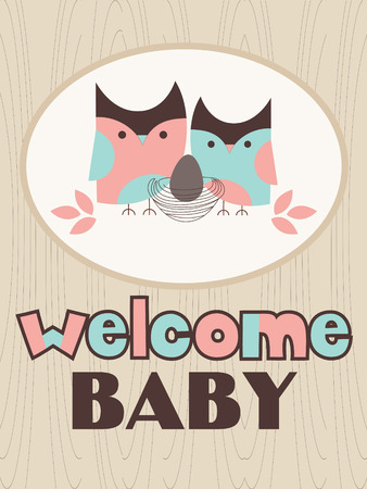 owl family: baby shower with cute owl family. vector illustration