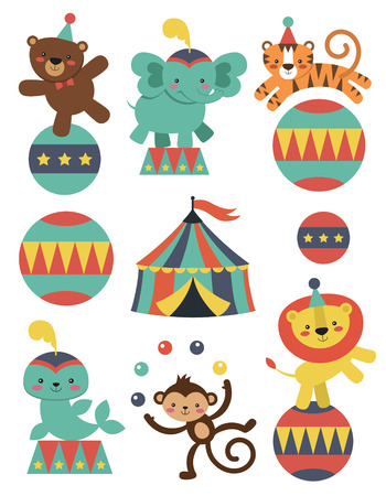 circus elephant: cute circus animals collection. vector illustration Illustration