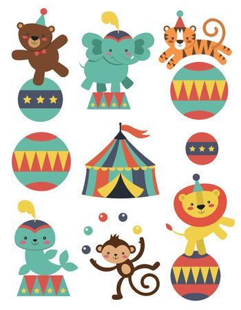 animales de circo: linda colecci�n de animales de circo. ilustraci�n vectorial Vectores