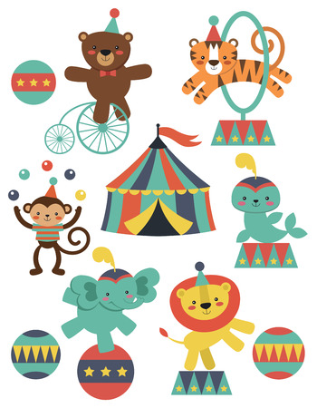marquee tent: cute circus animals collection. vector illustration Illustration