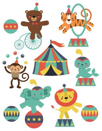 linda colección de animales de circo. ilustración vectorial Vectores