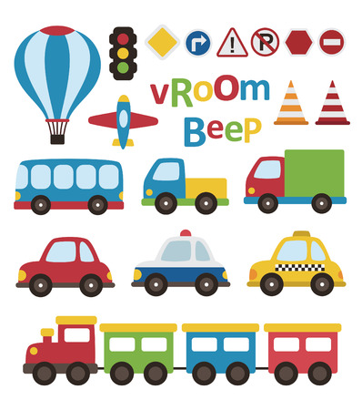 cute vehicle collection. vector illustration Çizim