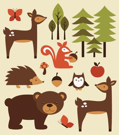 동물: 숲의 동물 컬렉션. 벡터 일러스트 레이 션 일러스트