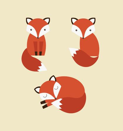 cute fox collection. vector illustration