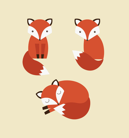 cute graphic: cute fox collection. vector illustration