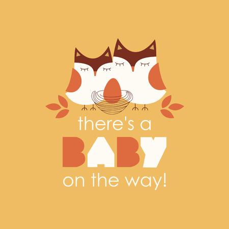 owl cute: welcome baby card design. vector illustration Illustration