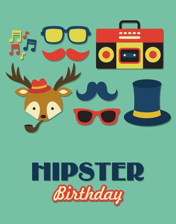 hipster birthday card. vector illustration Vector