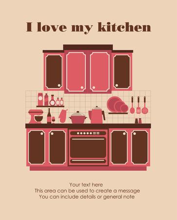 I love my kitchen card design. vector illustration Vector