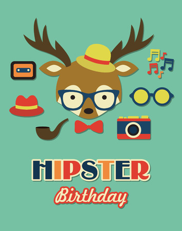 hipster birthday card. vector illustration Vector
