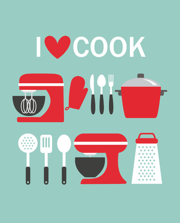 cook book: I love cook card design. vector illustration