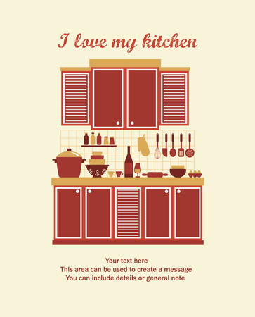 I love my kitchen card design. vector illustration Vector