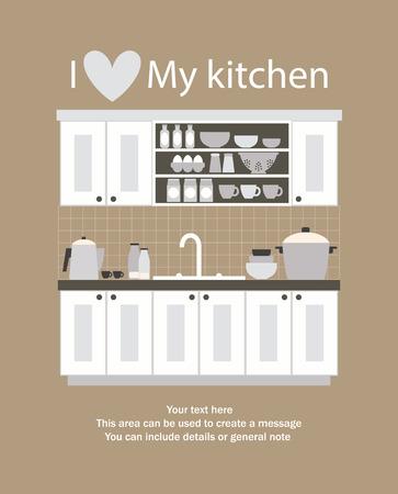 interior drawing: I love my kitchen card design. vector illustration Illustration