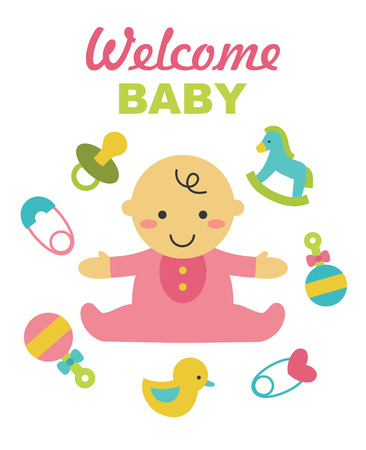 gee gee: welcome baby card design. vector illustration Illustration