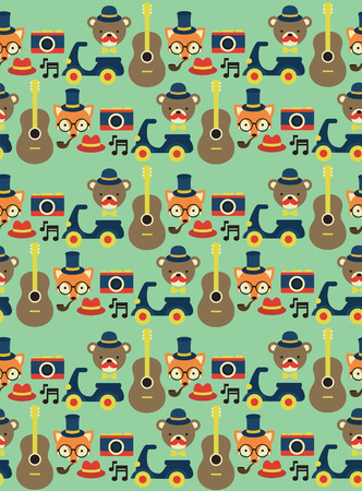 hipster animal pattern design. vector illustration Vector