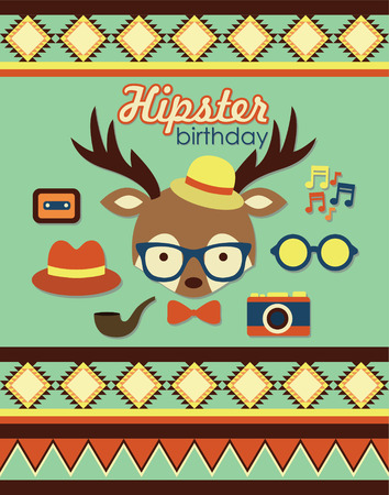 hipster birthday card design. vector illustration Vector