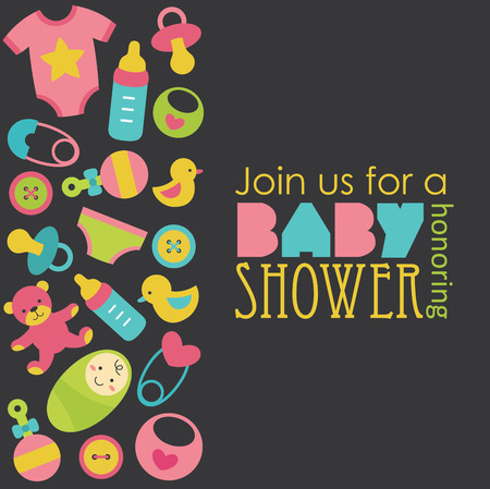 baby boy shower: baby shower card design. vector illustration