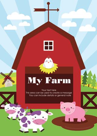 my farm card design. vector illustration Vector
