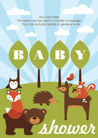 forest baby shower theme. vector illustration Иллюстрация