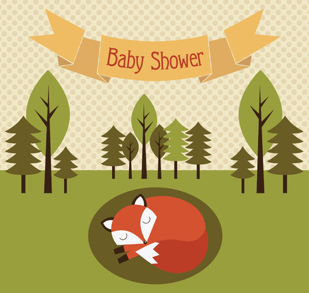 forest baby shower theme. vector illustration Vector