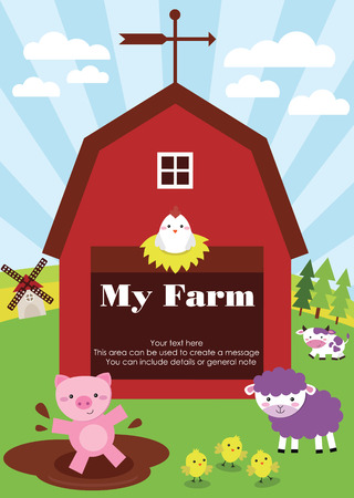 cute farm card design. vector illustration Vector