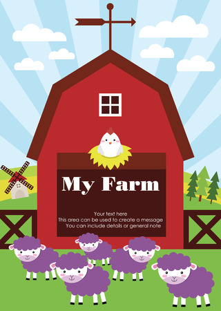 my farm fun card design. vector illustration Vector