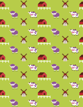 seamless farm pattern design. vector illustration Vector