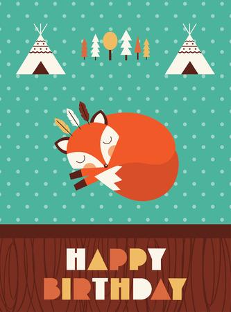 wigwam: happy birthday card with cute fox. vector illustration