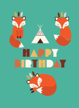 happy birthday cartoon: happy birthday card with cute fox. vector illustration