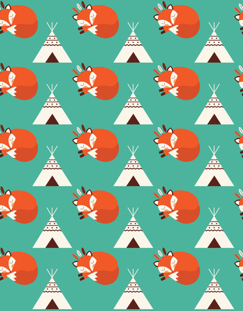 wigwam: cute seamless pattern with indian fox. vector illustration