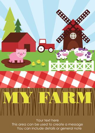 cute farm card design. vector illustration Vector