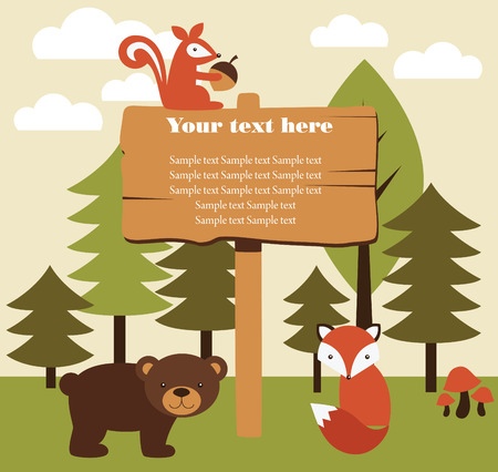 forest animal card design. vector illustration Vector