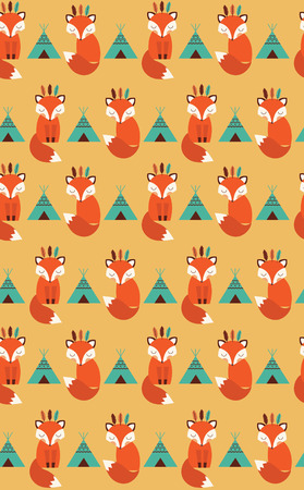 cute seamless pattern with indian fox. vector illustration Vector