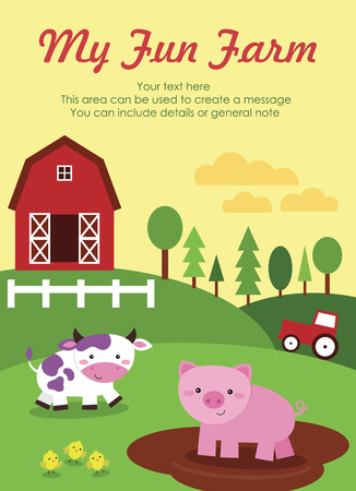 farm animal cartoon: my fun farm card design. vector illustration