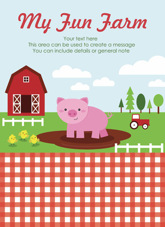 my fun farm card design. vector illustration Vector