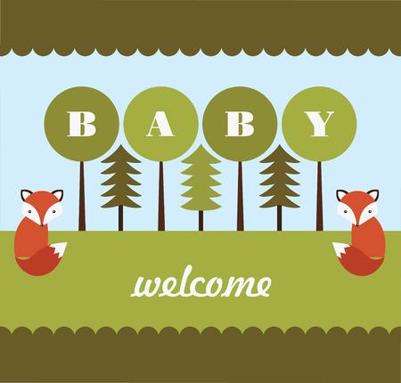 forest baby shower card design. vector illustration Vector