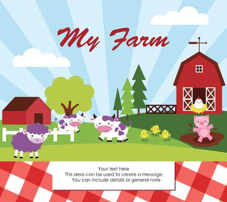 farm building: cute farm card design. vector illustration