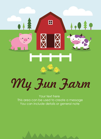 my fun farm card design. vector illustration Vector