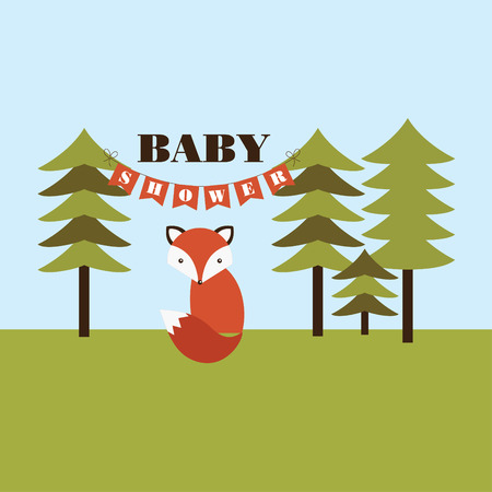 forest baby shower card design. vector illustration Vector