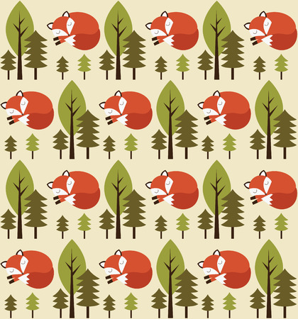 cute seamless forest pattern design. vector illustration Vector