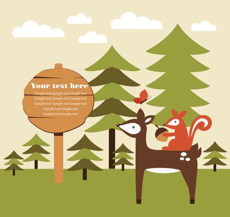 forest animal card design. vector illustration Vector
