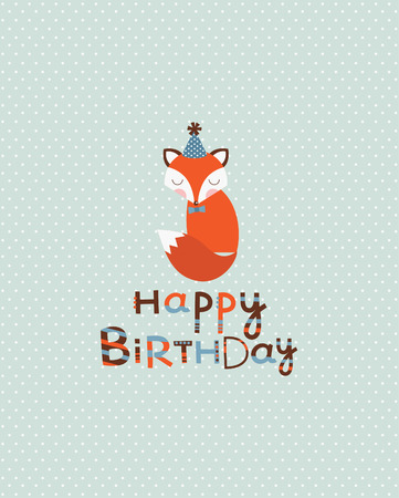 cute happy birthday card design. vector illustration Vector