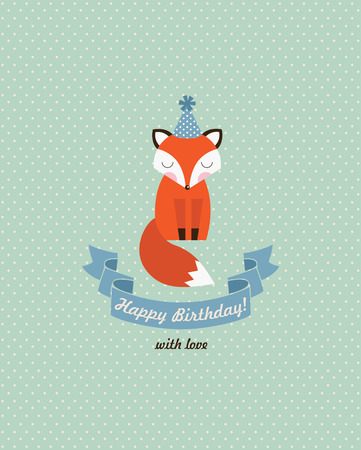 cute happy birthday card design. vector illustration