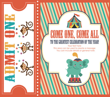 circus invitation card design. vector illustration Vector