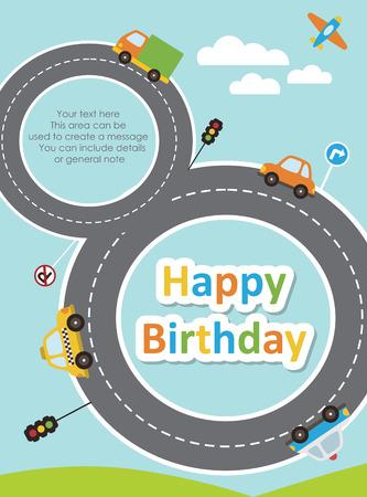 happy birthday vehicle card. vector illustration Vector