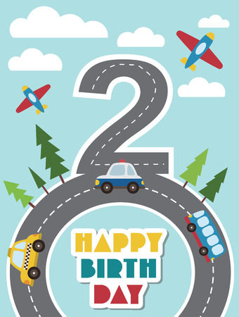 kids party: happy birthday vehicle card. vector illustration Illustration