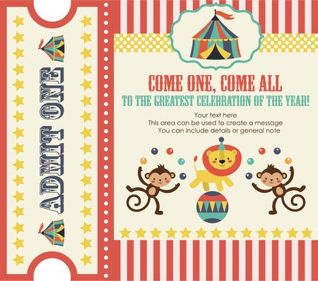 fondo de circo: diseño de la tarjeta del partido del circo. ilustración vectorial