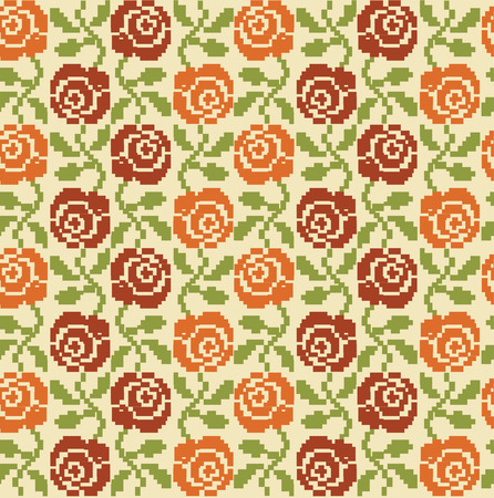 cross stitch floral seamless pattern design. vector illustration Vector