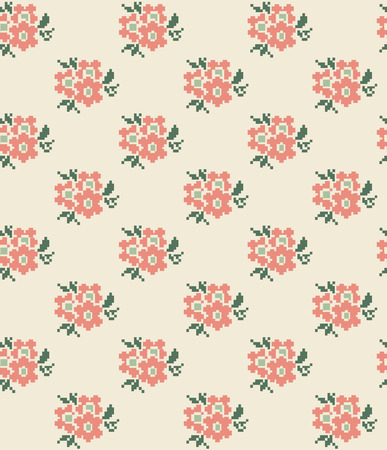 cross stitch floral seamless pattern design. vector illustration