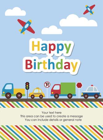 honoring: happy birthday vehicle card. vector illustration Illustration