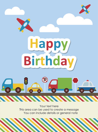 happy birthday vehicle card. vector illustration Illustration